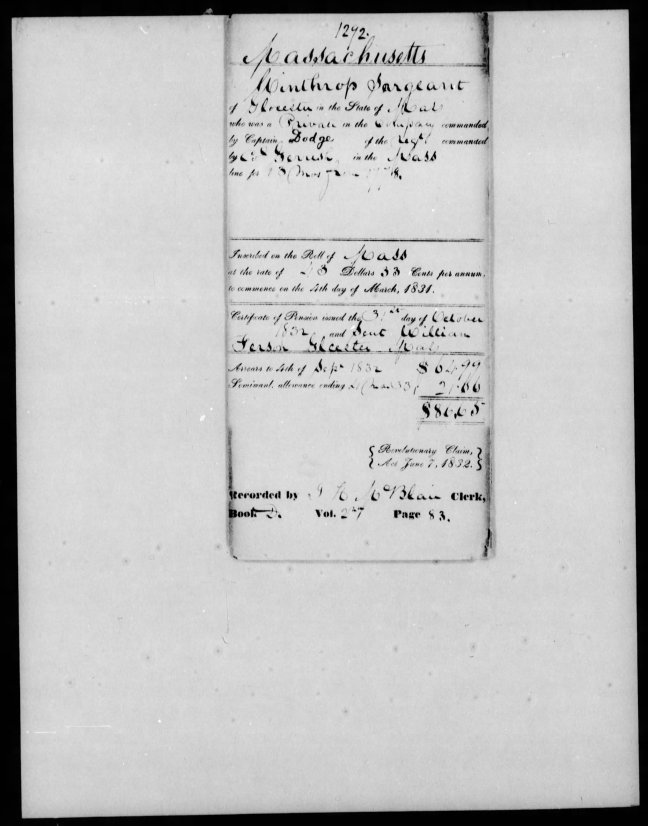 fold3 page_2 winthrop sargent revolutionary war pension and bountyland warrant application files-1