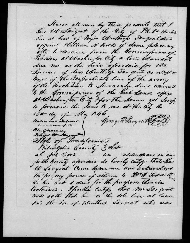 fold3 pg 9 winthrop sargent revolutionary war pension bountyland warrant application files