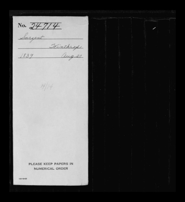 pg 1 winthrop sargent essex county, ma, 24714 probate file papers 1839