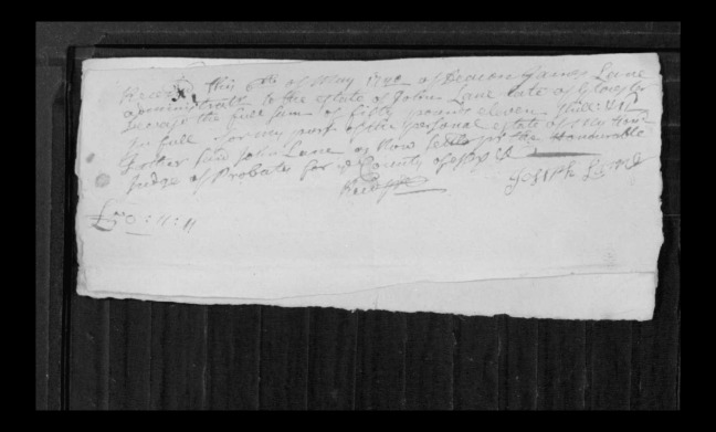 pg 10 john lane 16318 essex county, ma, probate file papers 1738
