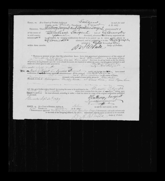 pg 10 winthrop sargent essex county, ma, 24714 probate file papers 1839