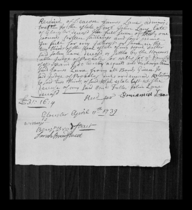 pg 13 john lane 16318 essex county, ma, probate file papers 1738