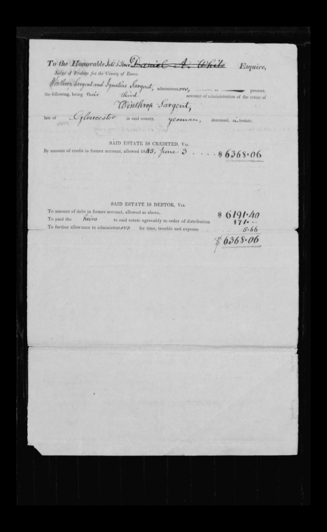 pg 13 winthrop sargent essex county, ma, 24714 probate file papers 1839