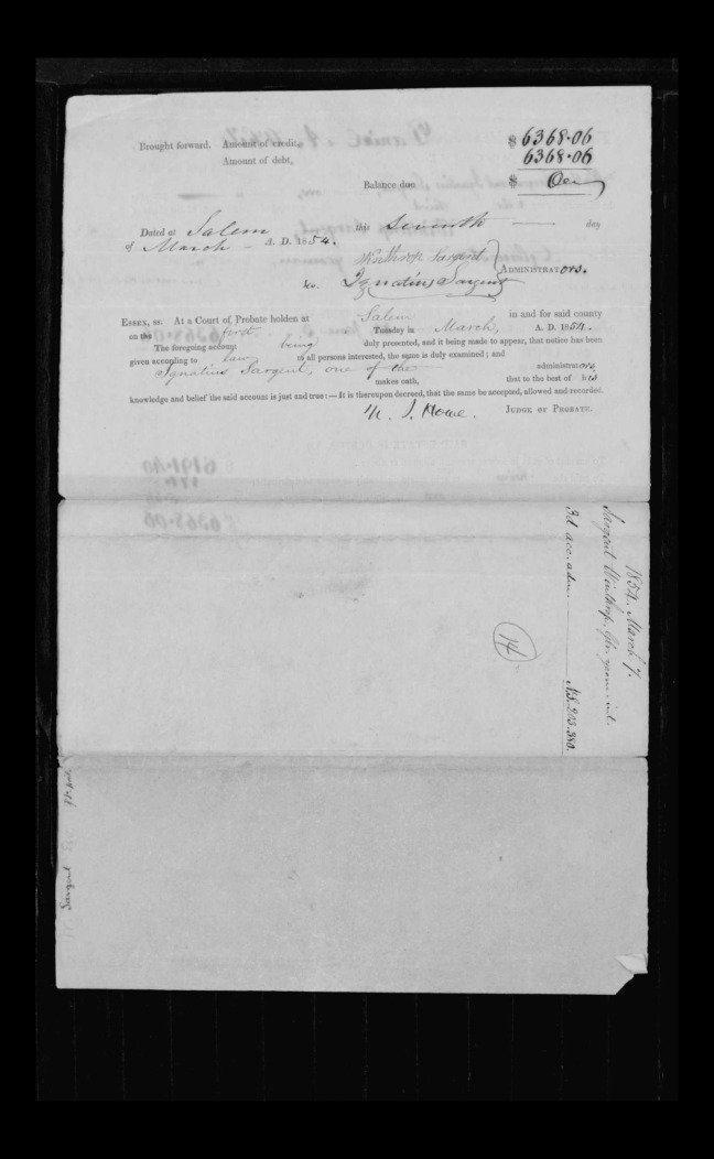 pg 14 winthrop sargent essex county, ma, 24714 probate file papers 1839