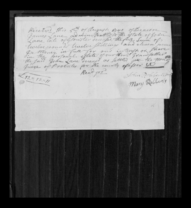 pg 15 john lane 16318 essex county, ma, probate file papers 1738