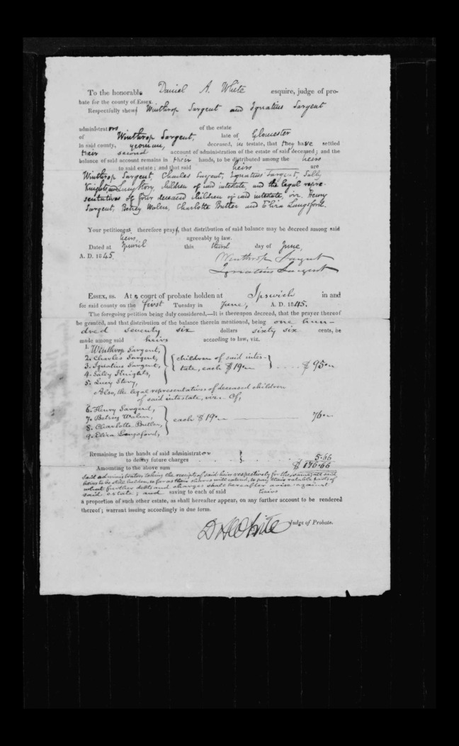 pg 15 winthrop sargent essex county, ma, 24714 probate file papers 1839