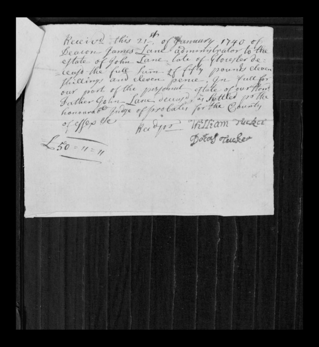pg 16 john lane 16318 essex county, ma, probate file papers 1738