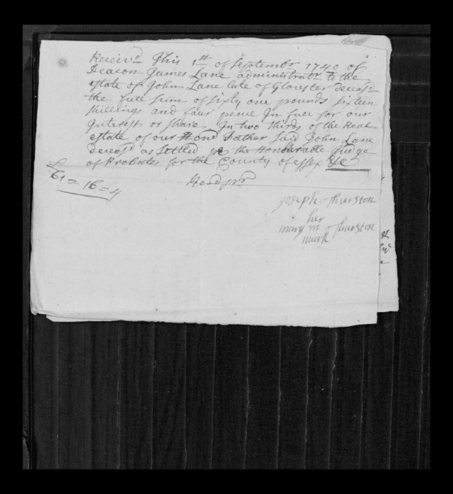pg 19 john lane 16318 essex county, ma, probate file papers 1738