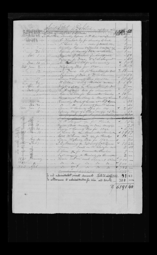 pg 19 winthrop sargent essex county, ma, 24714 probate file papers 1839