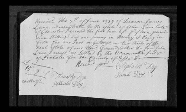 pg 2 john lane 16318 essex county, ma, probate file papers 1738
