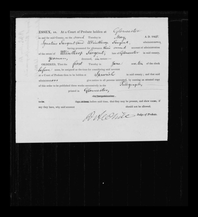 pg 2 winthrop sargent essex county, ma, 24714 probate file papers 1839