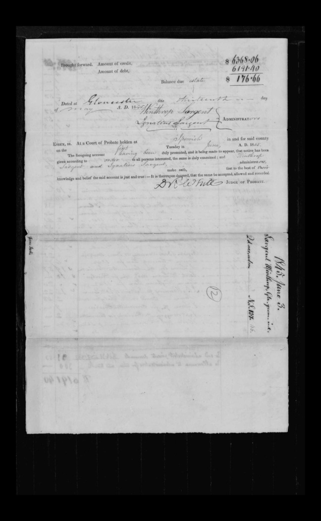 pg 20 winthrop sargent essex county, ma, 24714 probate file papers 1839