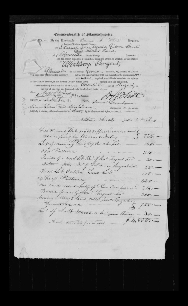 pg 21 winthrop sargent essex county, ma, 24714 probate file papers 1839
