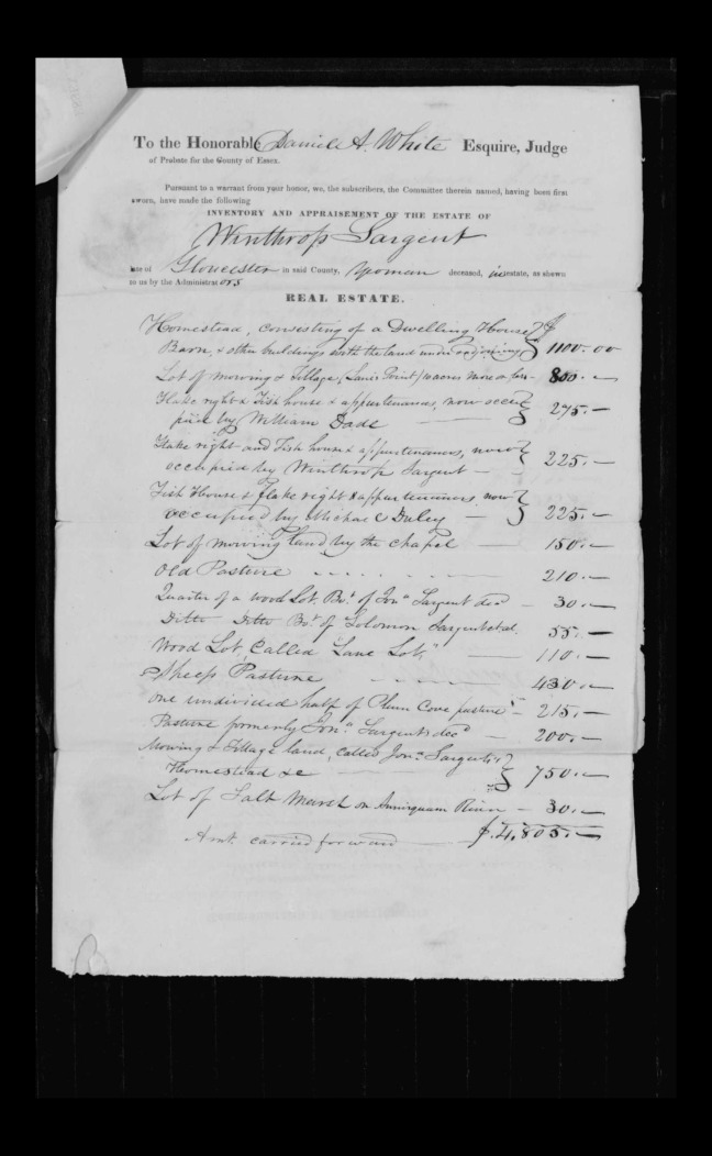 pg 22 winthrop sargent essex county, ma, 24714 probate file papers 1839