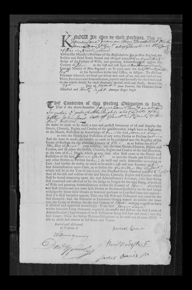 pg 23 john lane 16318 essex county, ma, probate file papers 1738