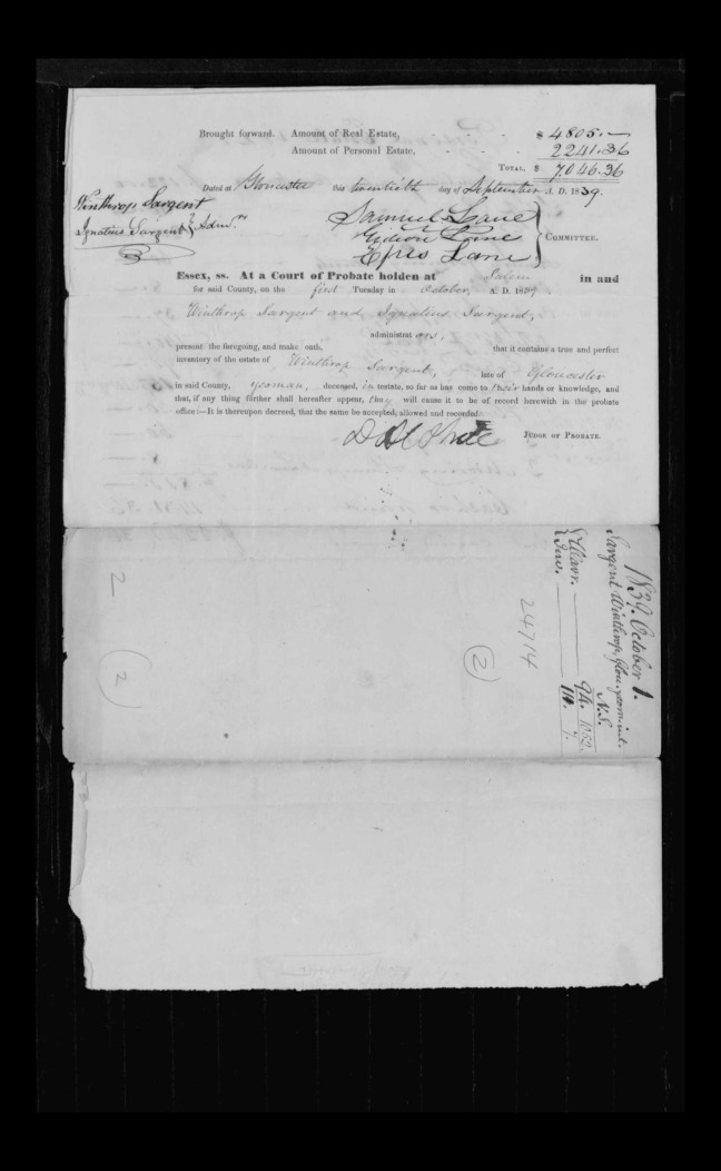 pg 24 winthrop sargent essex county, ma, 24714 probate file papers 1839