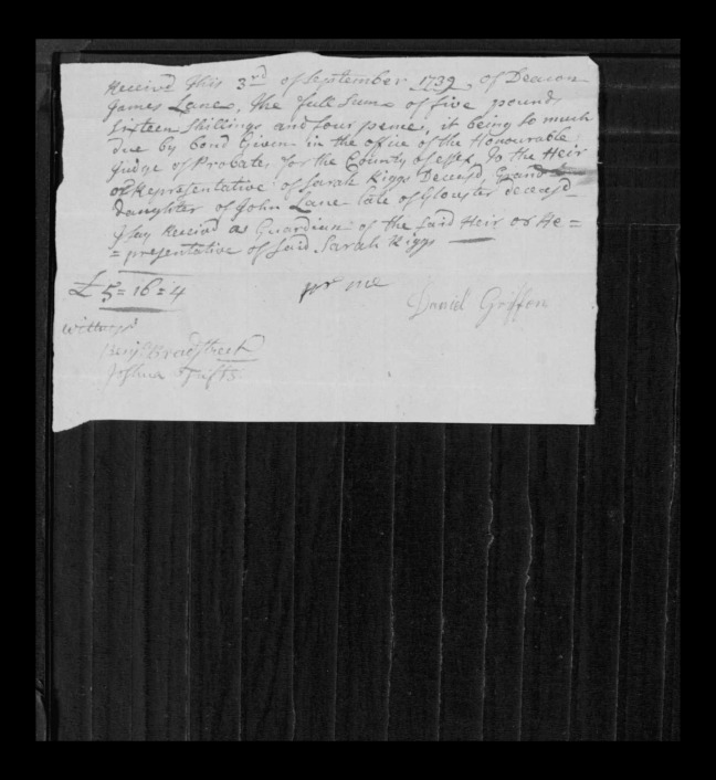 pg 25 john lane 16318 essex county, ma, probate file papers 1738
