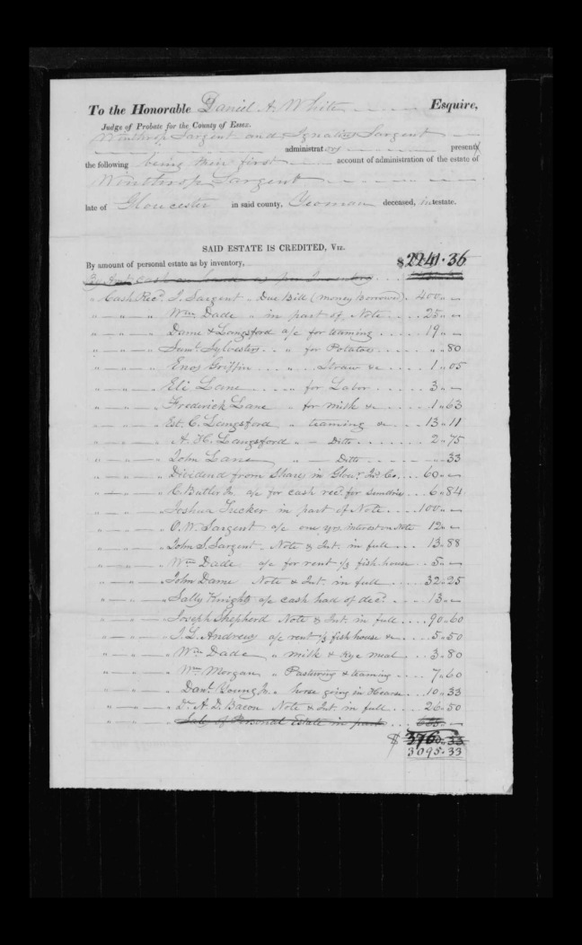 pg 25 winthrop sargent essex county, ma, 24714 probate file papers 1839