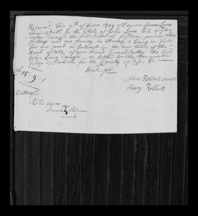 pg 26 john lane 16318 essex county, ma, probate file papers 1738