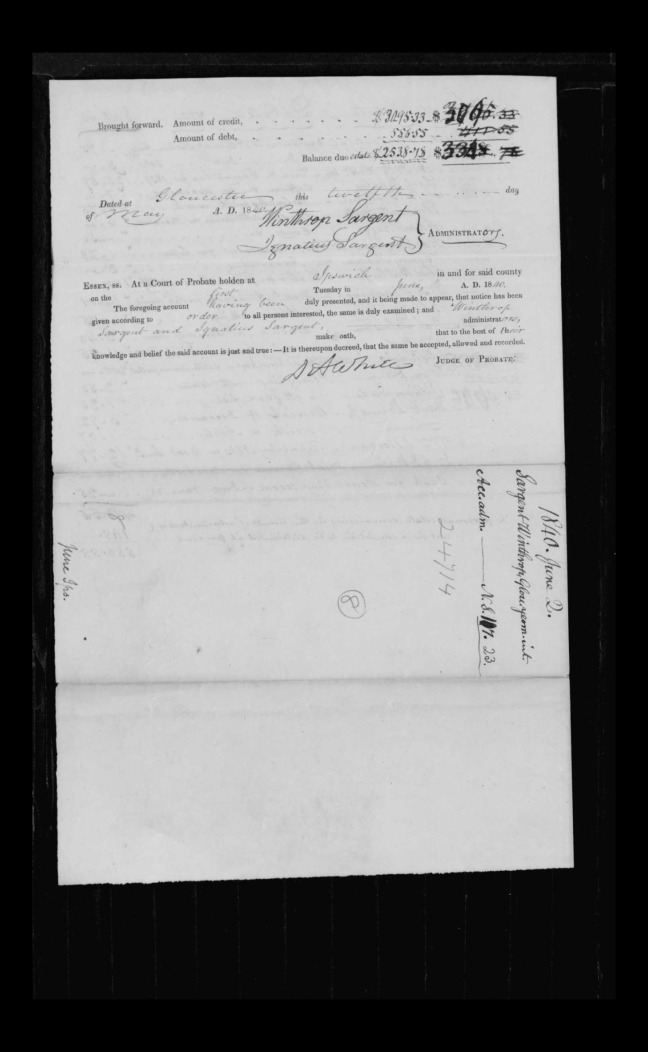 pg 27 winthrop sargent essex county, ma, 24714 probate file papers 1839