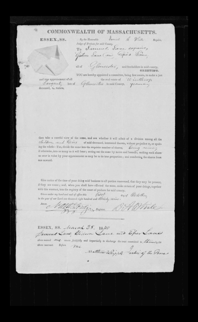 pg 28 winthrop sargent essex county, ma, 24714 probate file papers 1839
