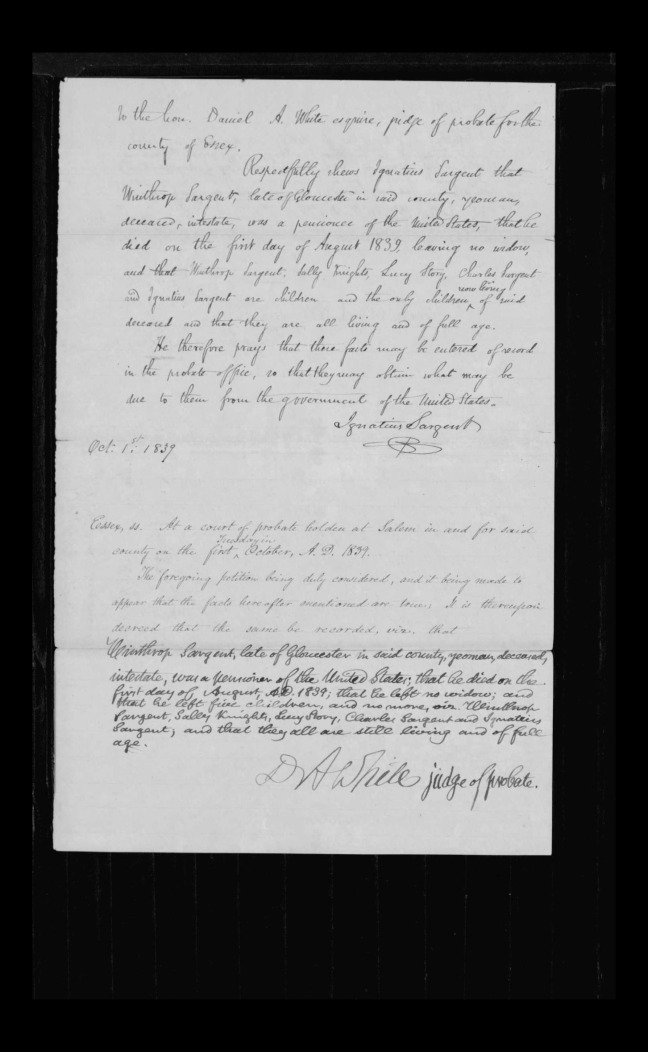 pg 29 winthrop sargent essex county, ma, 24714 probate file papers 1839