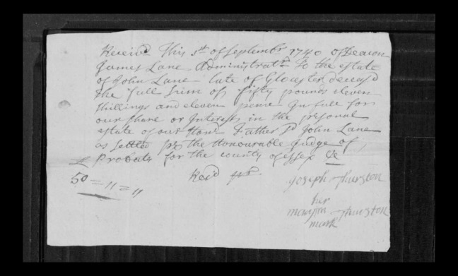 pg 3 john lane 16318 essex county, ma, probate file papers 1738