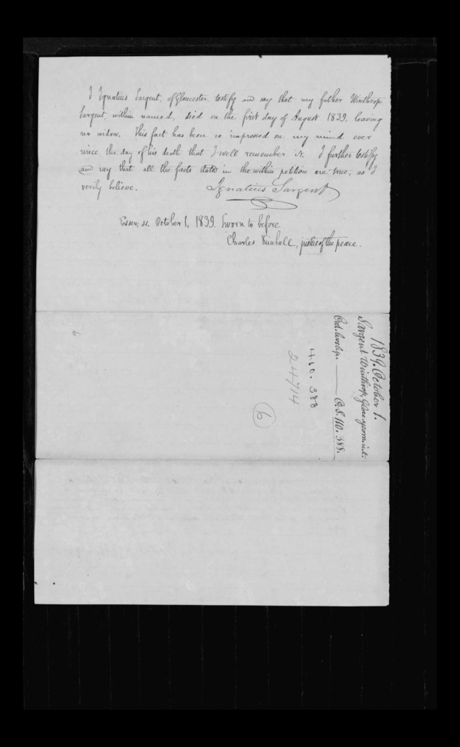 pg 30 winthrop sargent essex county, ma, 24714 probate file papers 1839