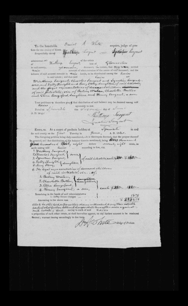 pg 31 winthrop sargent essex county, ma, 24714 probate file papers 1839