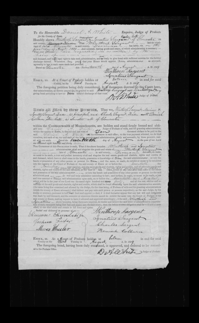 pg 33 winthrop sargent essex county, ma, 24714 probate file papers 1839