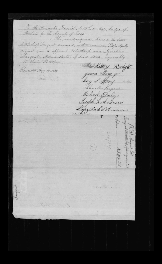 pg 34 winthrop sargent essex county, ma, 24714 probate file papers 1839