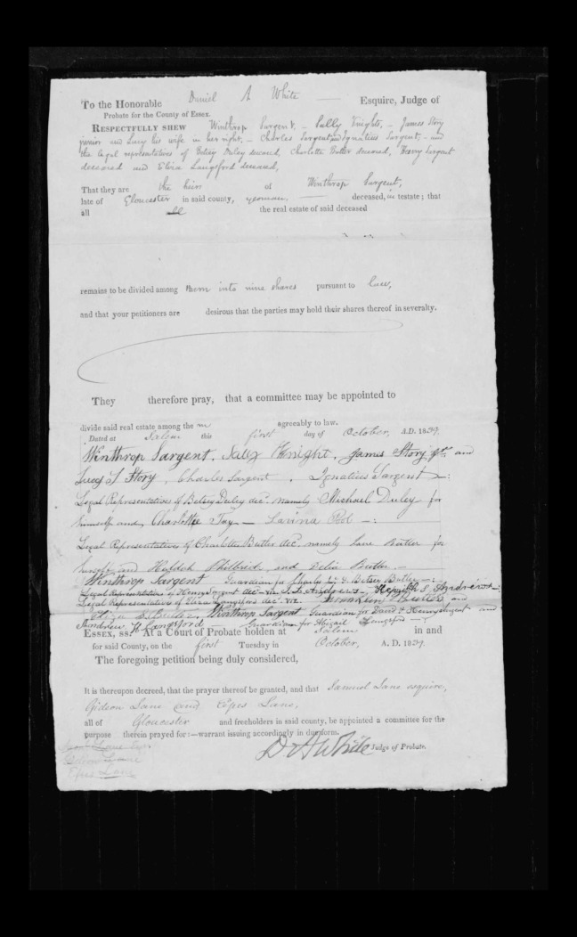 pg 35 winthrop sargent essex county, ma, 24714 probate file papers 1839