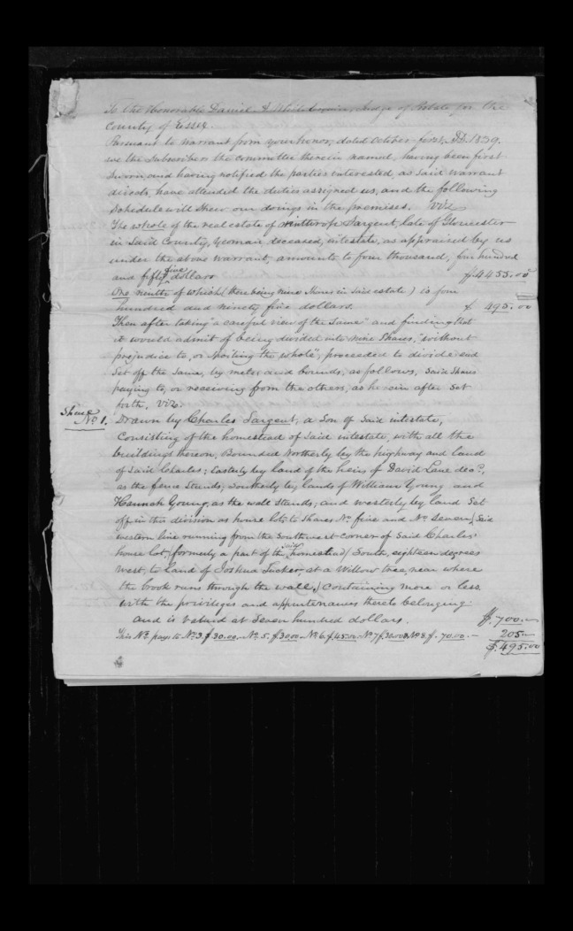 pg 37 winthrop sargent essex county, ma, 24714 probate file papers 1839