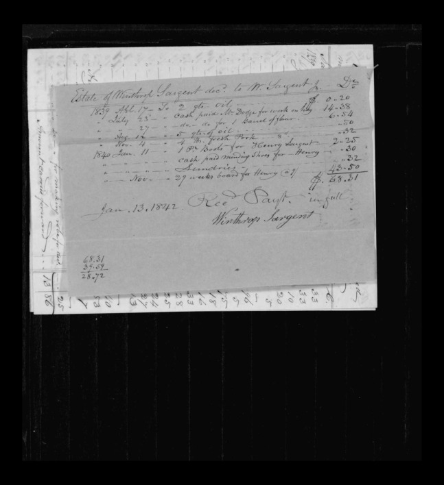 pg 4 winthrop sargent essex county, ma, 24714 probate file papers 1839