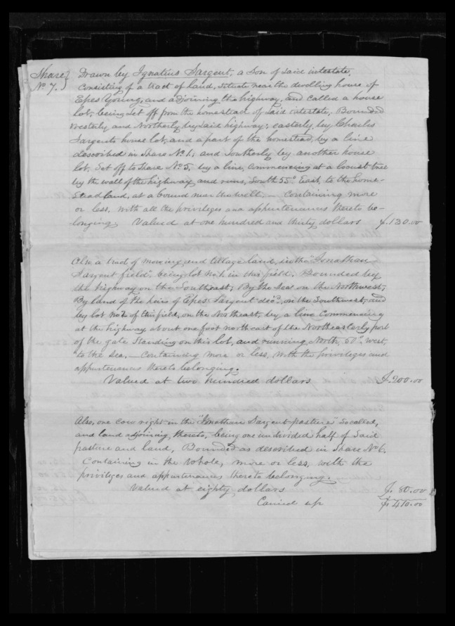 pg 46 winthrop sargent essex county, ma, 24714 probate file papers 1839