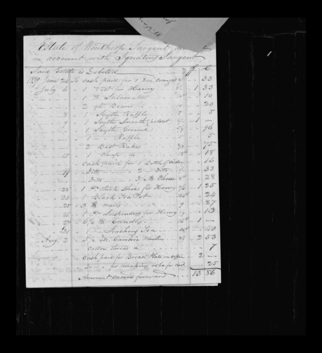 pg 5 winthrop sargent essex county, ma, 24714 probate file papers 1839