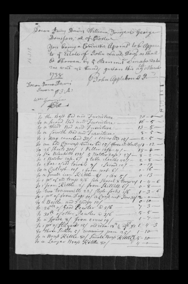 pg 50 john lane 16318 essex county, ma, probate file papers 1738