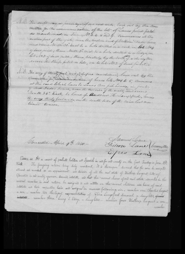 pg 51 winthrop sargent essex county, ma, 24714 probate file papers 1839