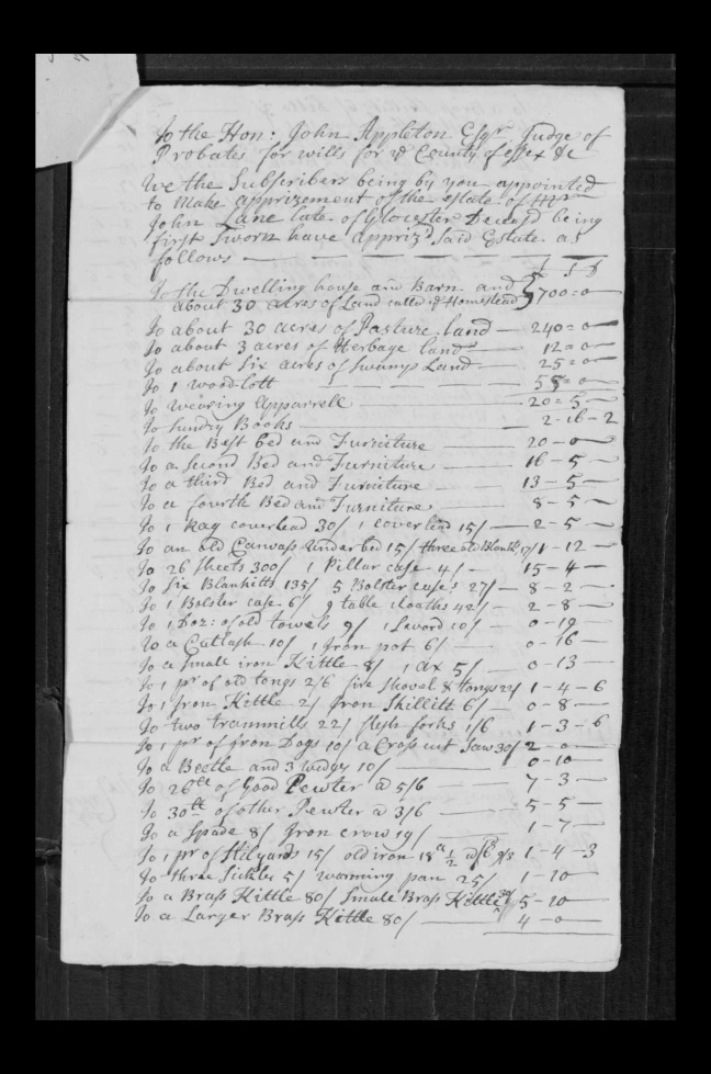 pg 52 john lane 16318 essex county, ma, probate file papers 1738