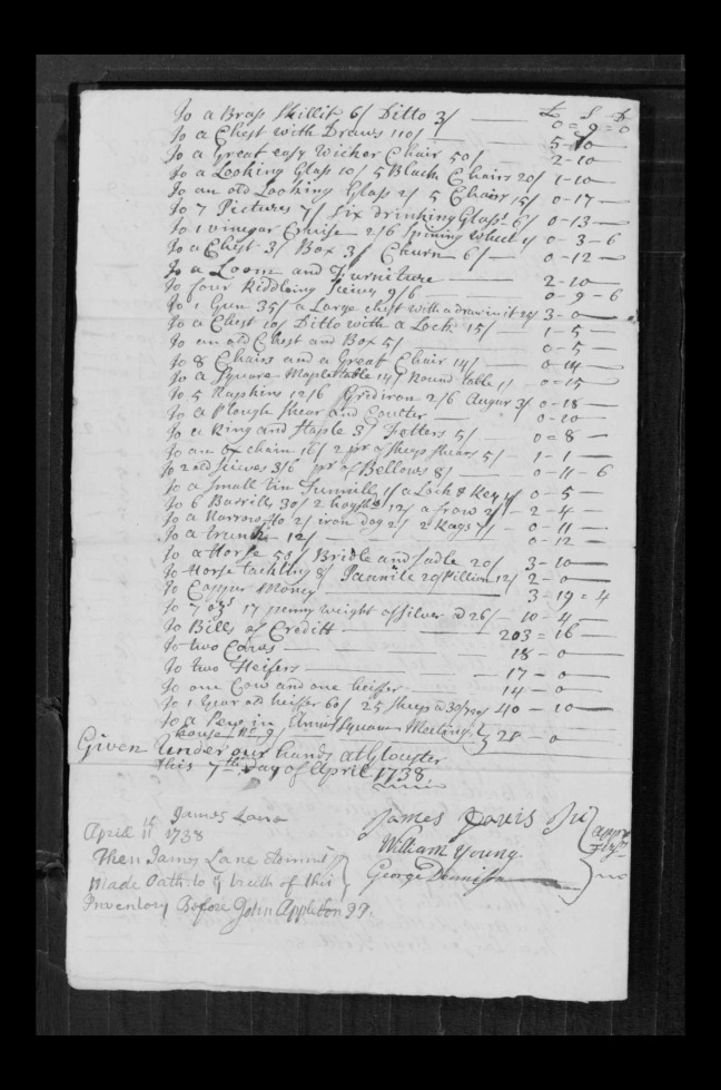 pg 53 john lane 16318 essex county, ma, probate file papers 1738