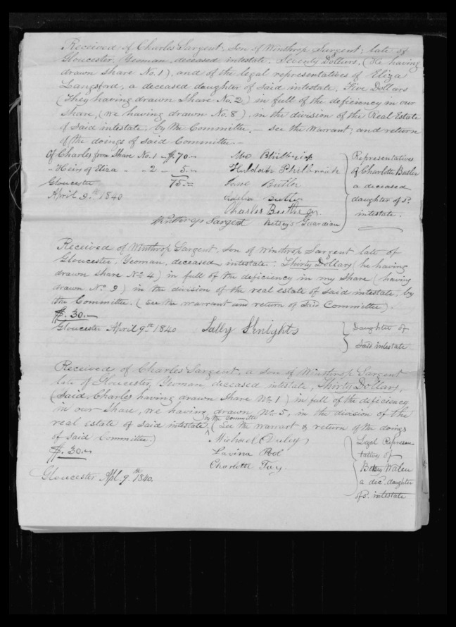 pg 53 winthrop sargent essex county, ma, 24714 probate file papers 1839