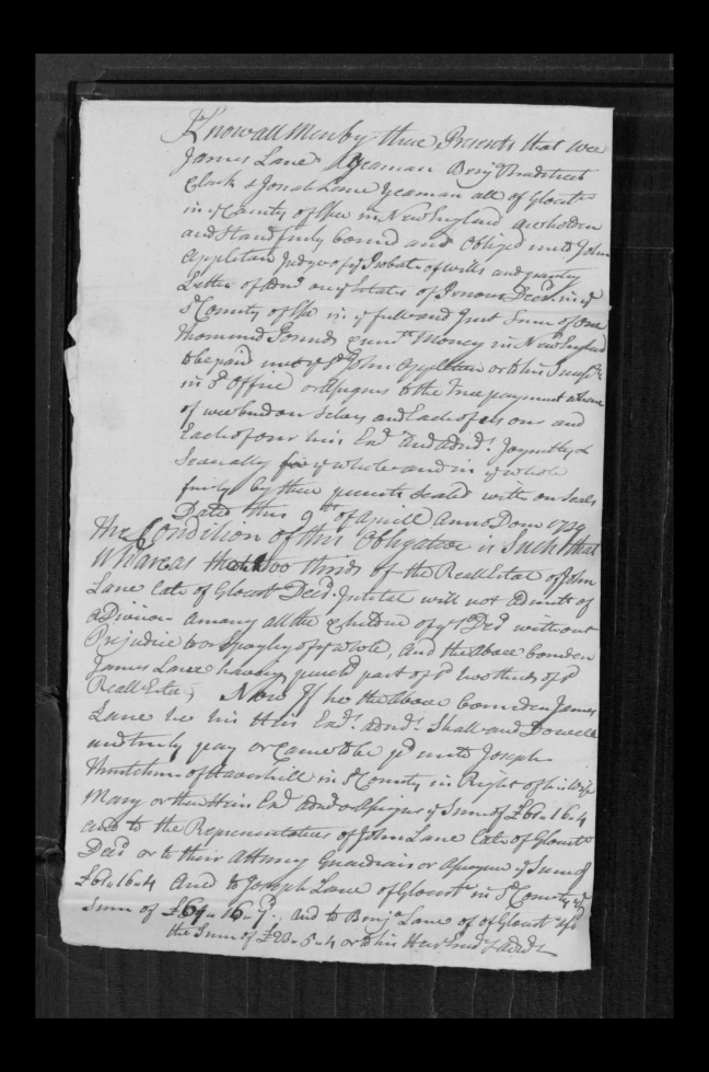 pg 55 john lane 16318 essex county, ma, probate file papers 1738