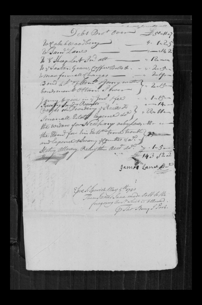 pg 59 john lane 16318 essex county, ma, probate file papers 1738