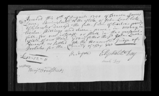 pg 6 john lane 16318 essex county, ma, probate file papers 1738