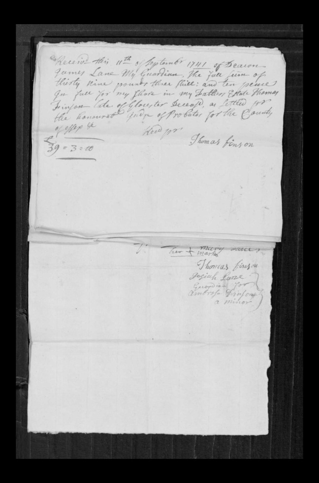 pg 65 john lane 16318 essex county, ma, probate file papers 1738