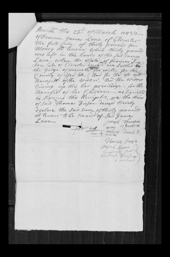 pg 67 john lane 16318 essex county, ma, probate file papers 1738