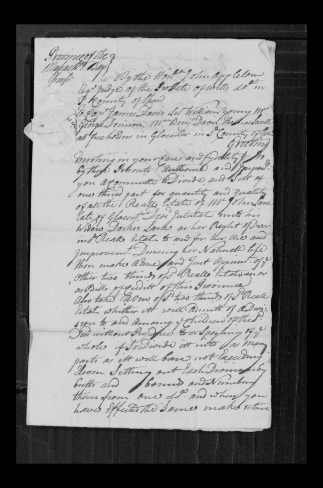 pg 69 john lane 16318 essex county, ma, probate file papers 1738