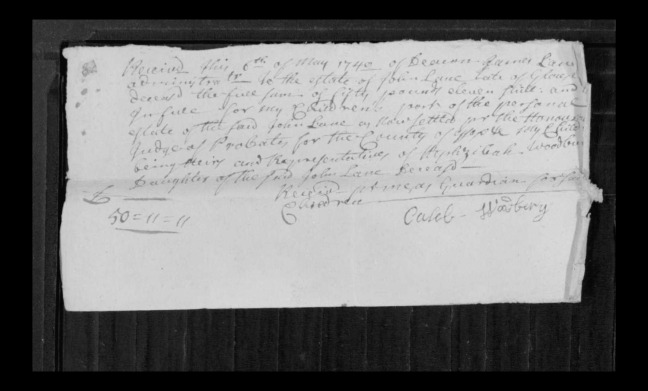 pg 8 john lane 16318 essex county, ma, probate file papers 1738