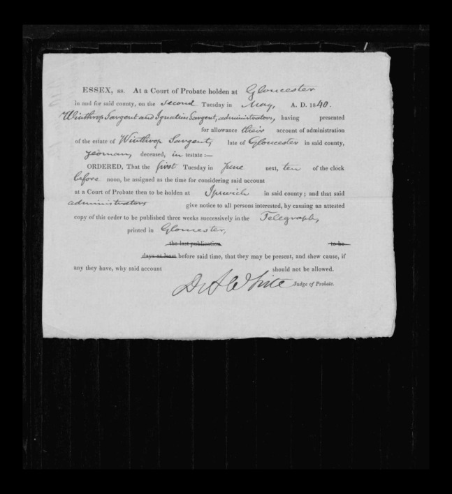 pg 8 winthrop sargent essex county, ma, 24714 probate file papers 1839